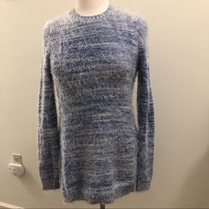 BCBG Blue and white Fuzzy Sweater size M